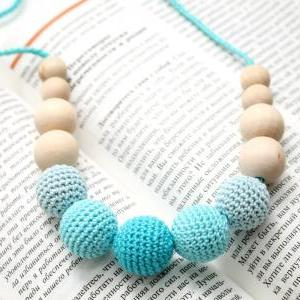 Aqua Blue Teething Necklace - Nursi..