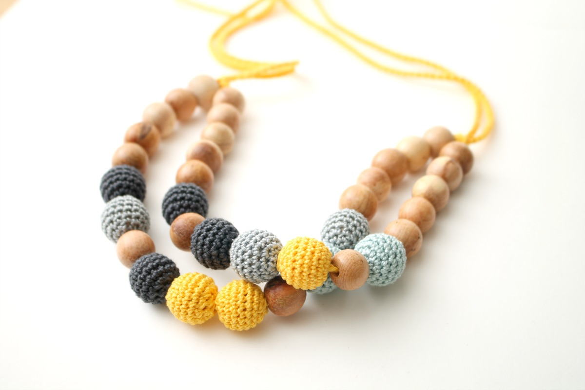 Double statement nursing necklace Breastfeeding bib necklace - gray, teal, yellow