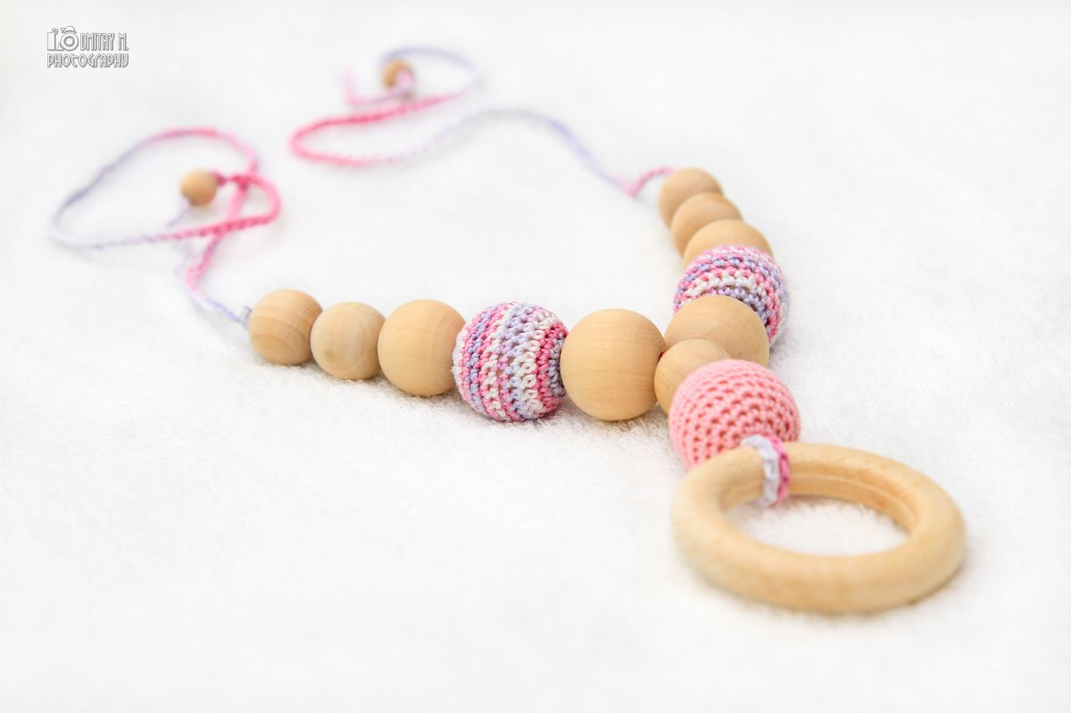100 Percent Organic Nursing breastfeeding necklace with wooden ring pendant - pastel baby pink, white, lilac