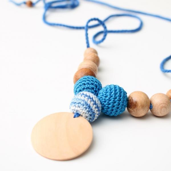 Organic Cotton Nursing necklace - Triple Teething necklace with pendant